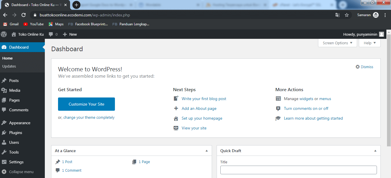Dashboard WordPress Toko Online