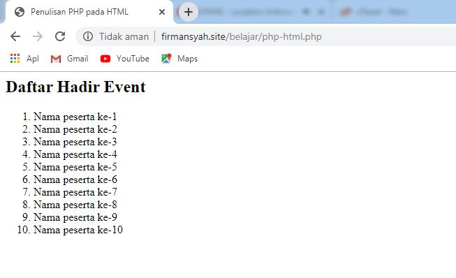 Hasil Penulisan PHP