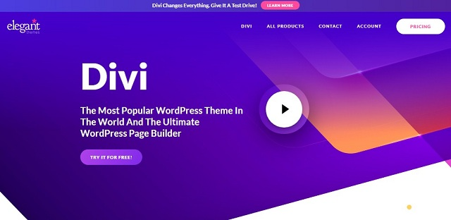 Tampilan DIVI Website Builder