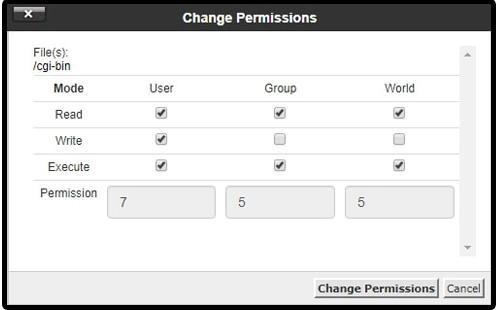 Ubah file permission cpanel
