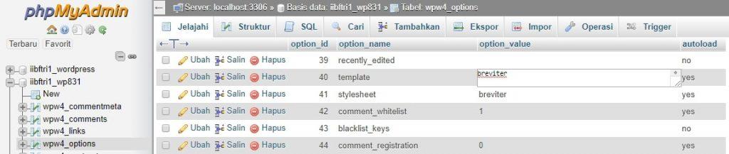 Ubah tema melalui database